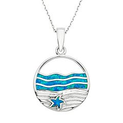 Lab-Created Blue Opal Sterling Silver Surf & Sand Pendant Necklace