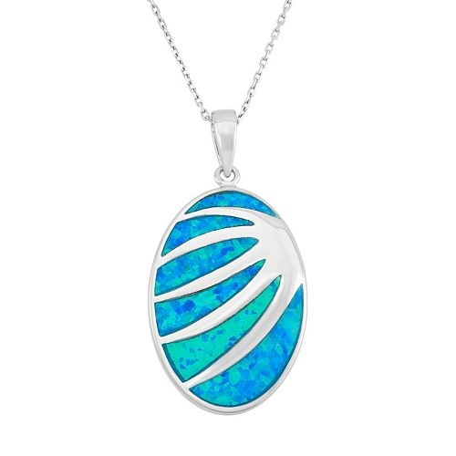 Lab-Created Blue Opal Sterling Silver Abstract Oval Pendant Necklace