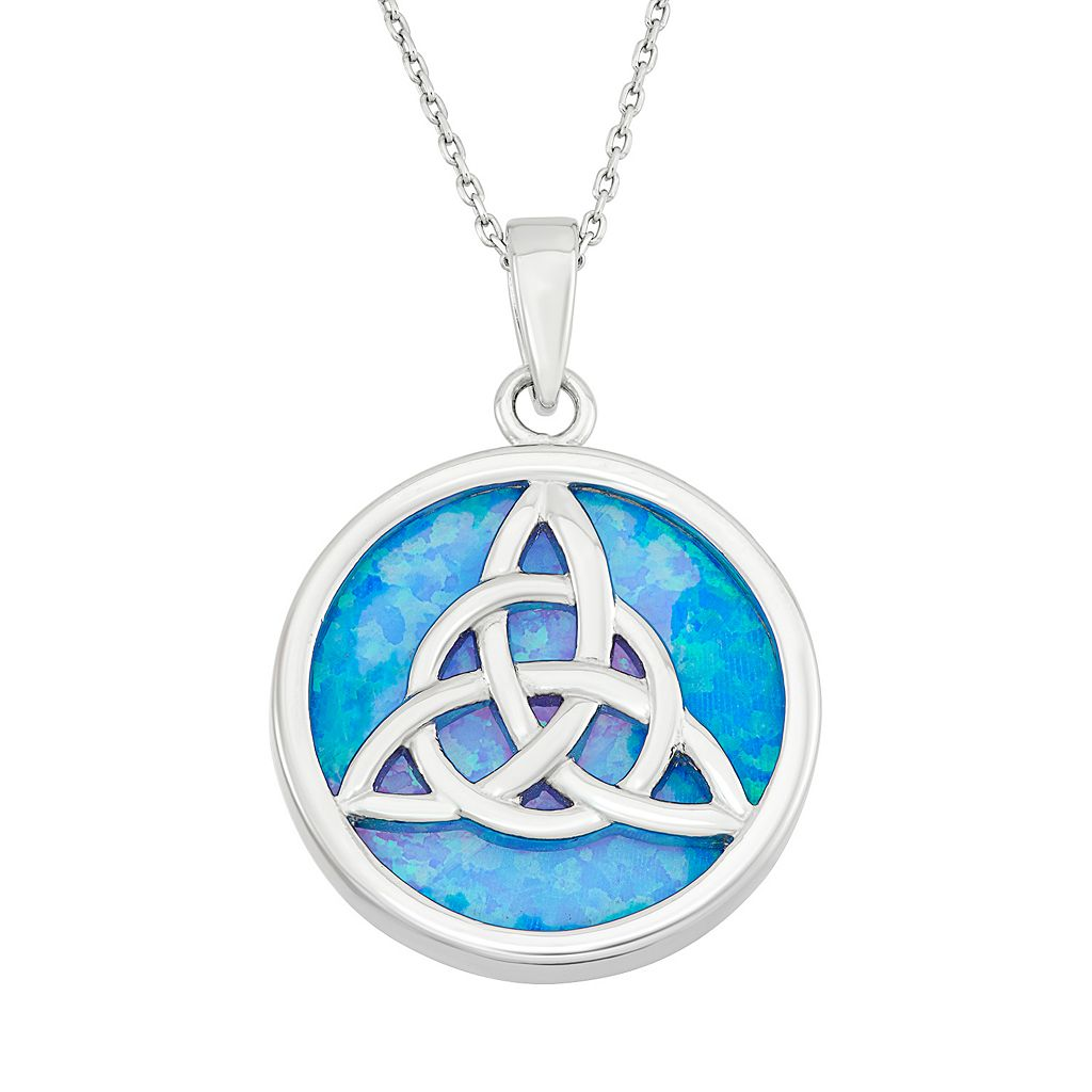 Lab-Created Blue Opal Sterling Silver Triquetra Pendant Necklace