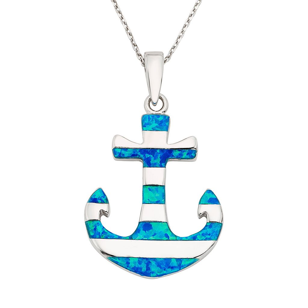 Lab-Created Blue Opal Sterling Silver Anchor Pendant Necklace