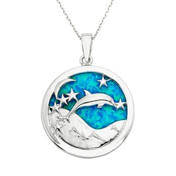 Lab created blue opal sterling silver dolphin pendant necklace aloadofball Choice Image