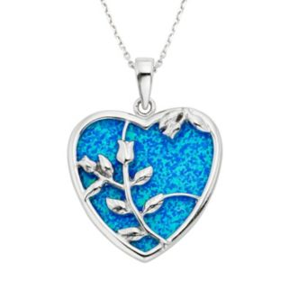 Lab-Created Blue Opal Sterling Silver Flower & Heart Pendant Necklace