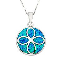 Lab-Created Blue Opal Sterling Silver Eternity Pendant Necklace