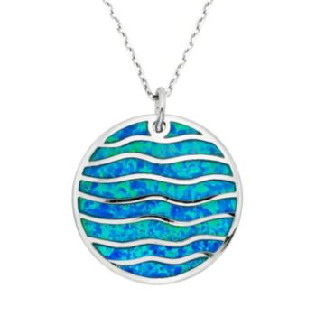 Lab-Created Blue Opal Sterling Silver Wave Pendant Necklace