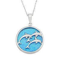 Lab-Created Blue Opal Sterling Silver Triple Dolphin Pendant Necklace