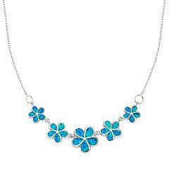 Lab-Created Blue Opal Sterling Silver Flower Necklace