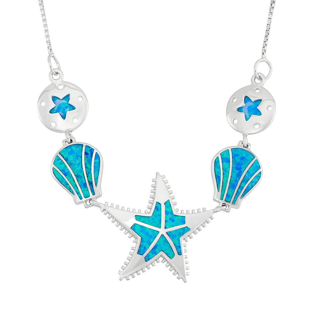 Lab-Created Blue Opal Sterling Silver Starfish & Shell Necklace