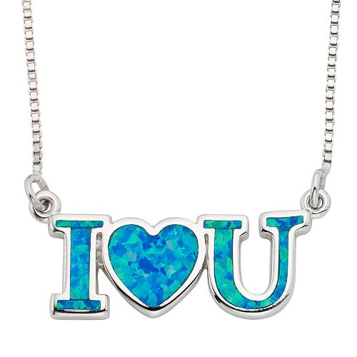 "Lab-Created Blue Opal Sterling Silver ""I Love U"" Necklace"