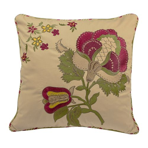 Waverly Imperial Dress Embroidered Jacobean Floral Throw Pillow