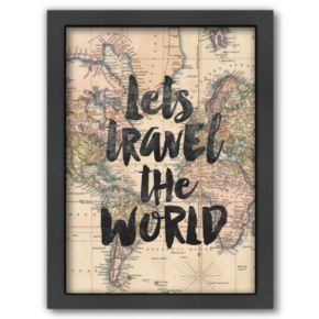 Americanflat ''Lets Travel the World'' Framed Wall Art