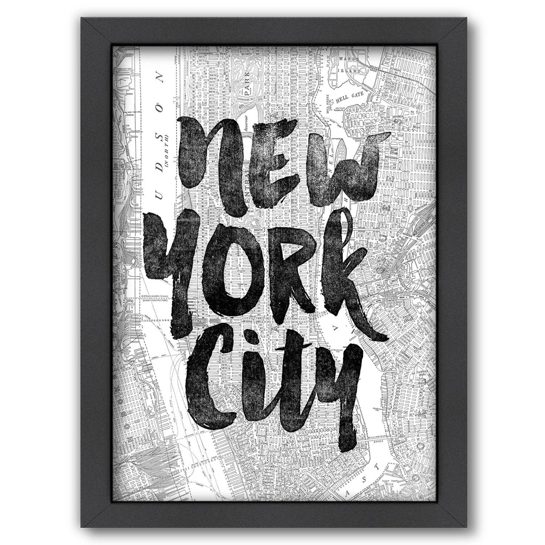Americanflat U0027u0027New York Cityu0027u0027 Map Framed Wall Art Part 57
