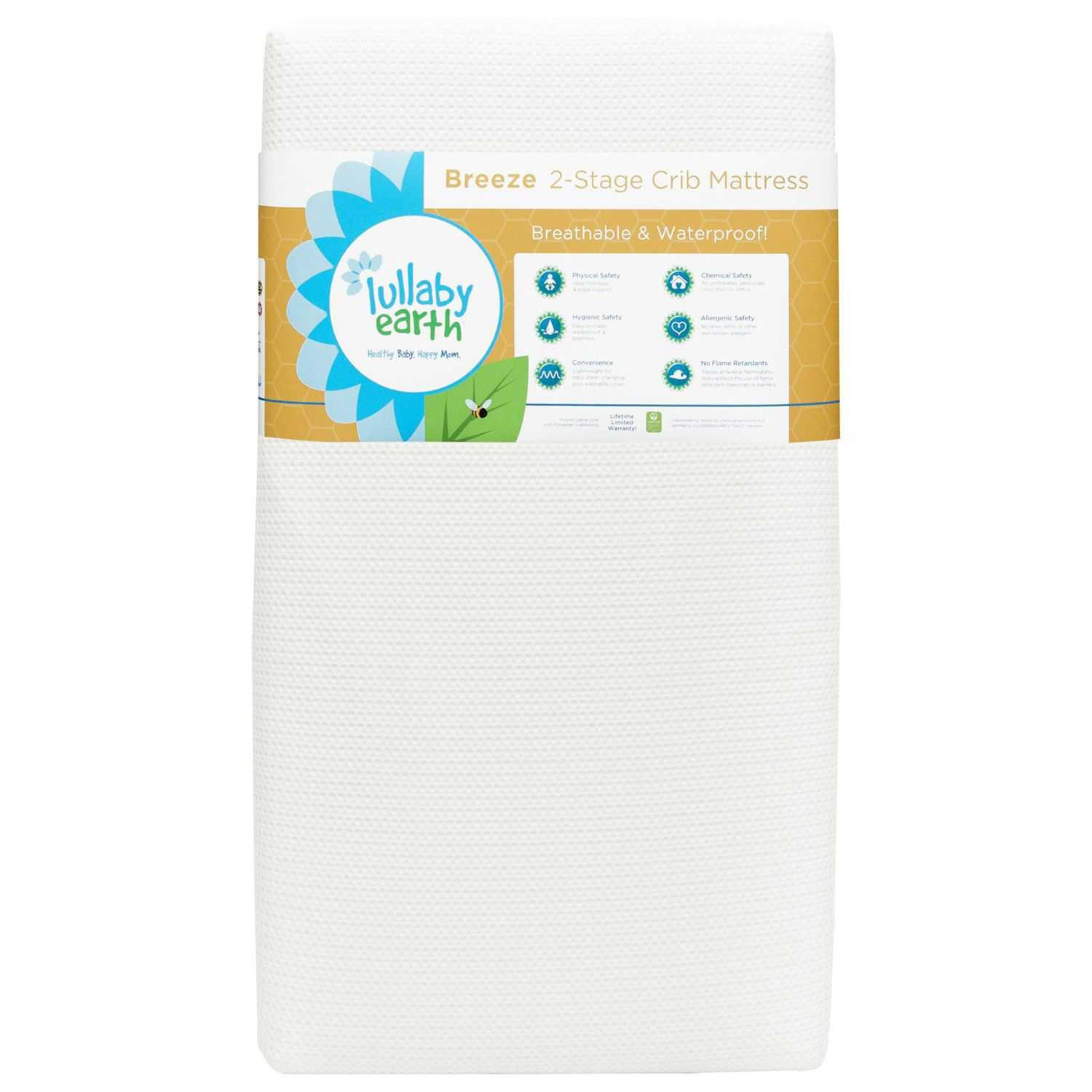 lullaby earth breeze breathable waterproof 2stage crib mattress