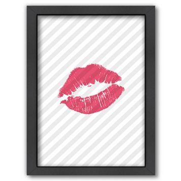 Americanflat Pink Lips Framed Wall Art
