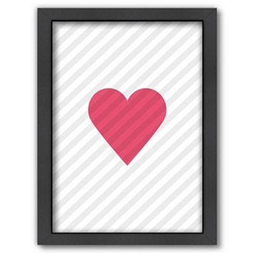 Americanflat Pink Love Heart Framed Wall Art