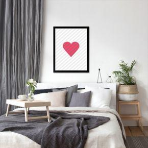 Americanflat Pink Love Heart Framed Wall Art