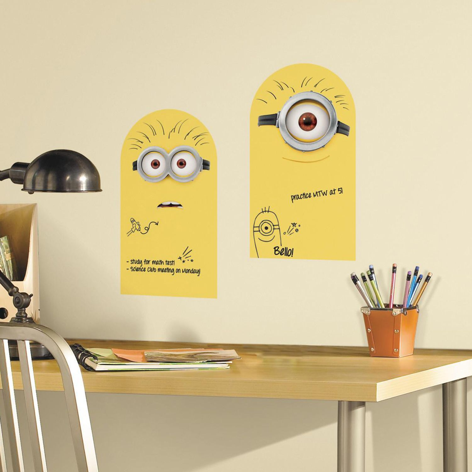 Minion 2 Piece Dry Erase Peel And Stick Wall Decal Set