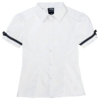 Toddler Girl French Toast School Uniform Ribbon Bow Shirt