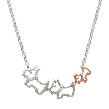 Diamond Accent Sterling Silver & 18k Rose Gold Over Silver Triple Scottie Dog Necklace