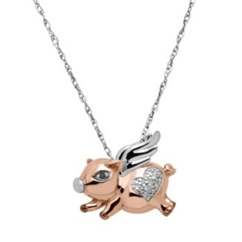 Diamond Accent 18k Rose Gold Over Silver & Sterling Silver Flying Pig Pendant Necklace