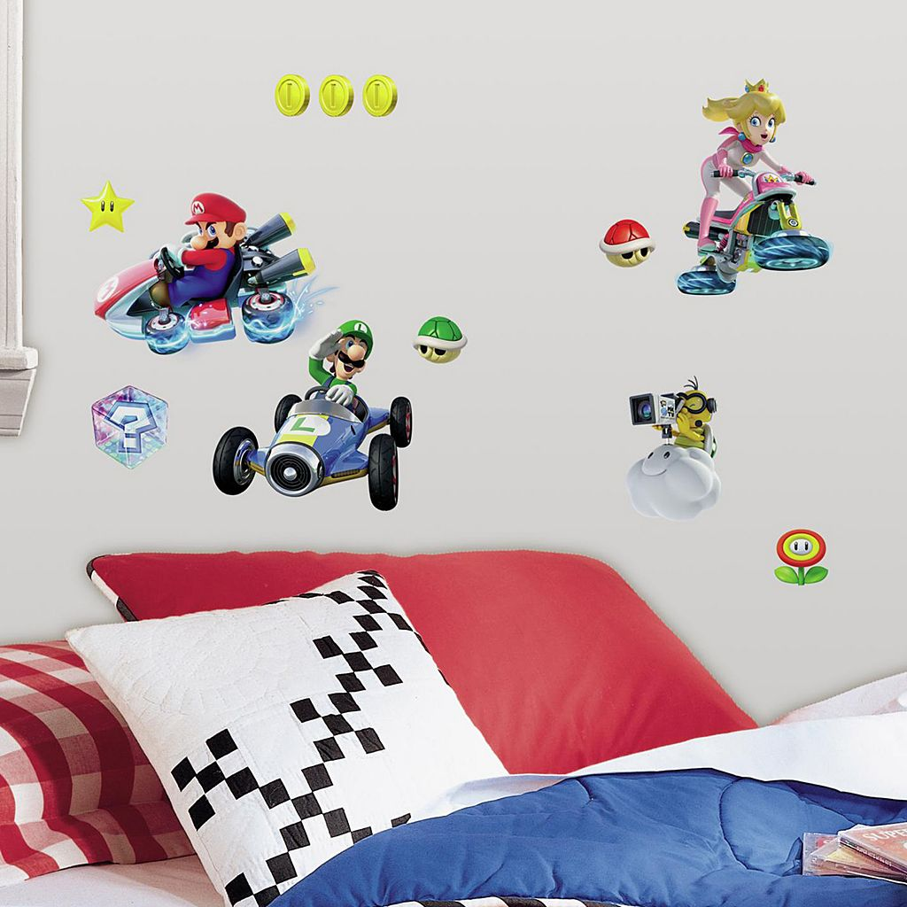 Mario Kart 8 44-piece Peel and Stick Wall Decal Set