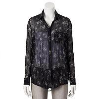 Rock & Republic® Print Sheer Crinkle Shirt - Women's