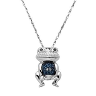 Blue & Black Diamond Accent Sterling Silver Frog Pendant Necklace