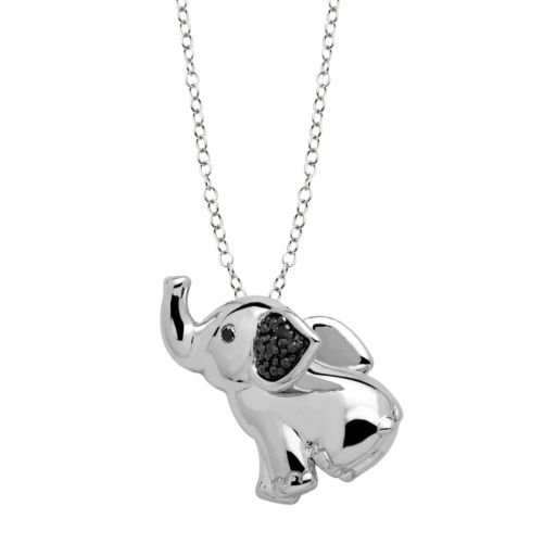 Black Diamond Accent Sterling Silver Elephant Pendant Necklace