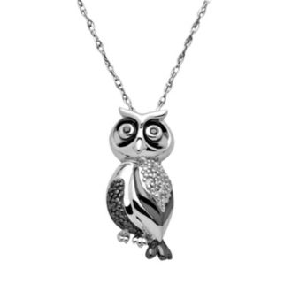 Diamond Accent Sterling Silver Owl Pendant Necklace