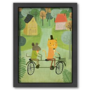 Americanflat Cat and Mouse Tandem Bicycle Framed Wall Art