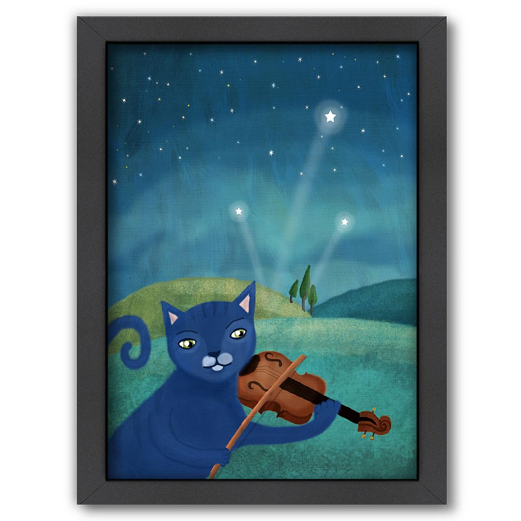 Americanflat Cat Playing Violin Framed Wall Art
