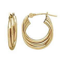 Everlasting Gold 14k Gold Triple Tube Hoop Earrings