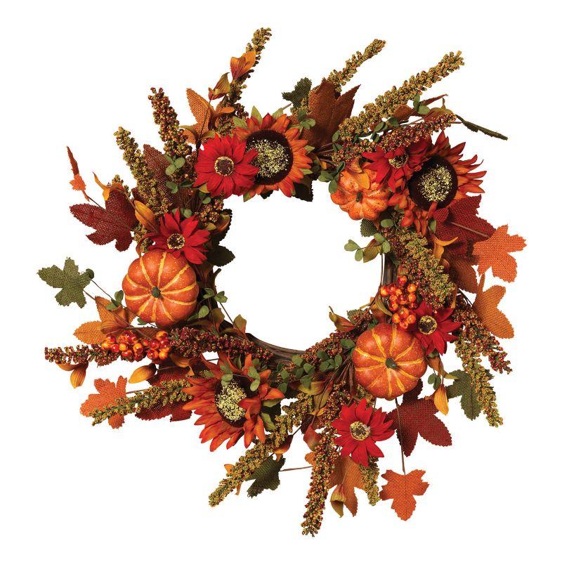 Harvest Faux Sunflower and Pumpkin Wreath (Linen/Sunflower/Pumpkin)