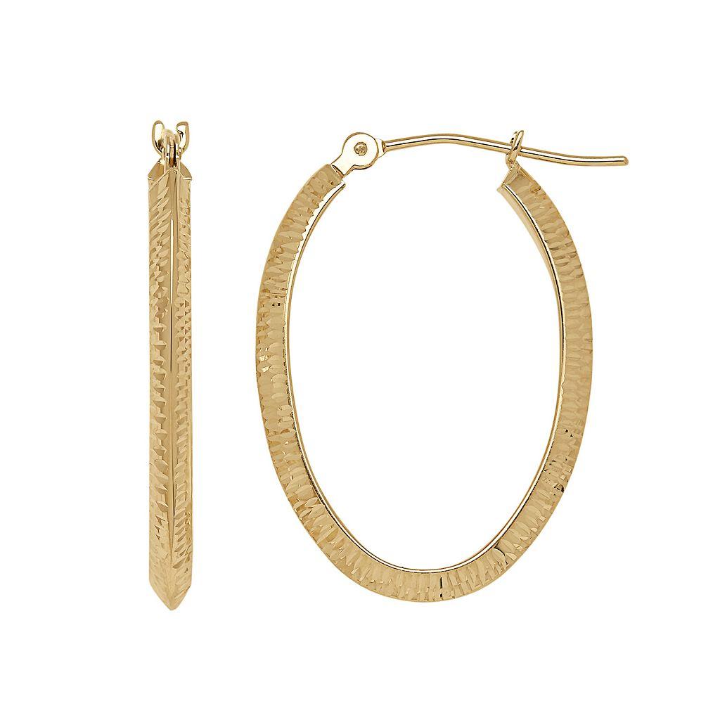 Everlasting Gold 14k Gold Textured Oval Hoop Earrings