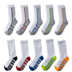 Boys 4-20 Tek Gear® 10-Pack Lightweight Crew Performance Socks