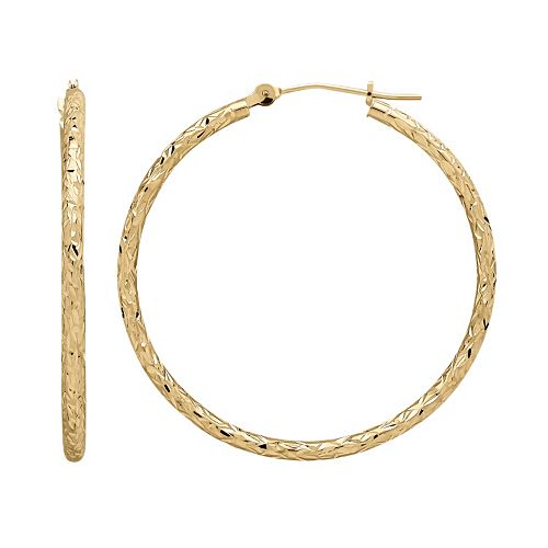 Everlasting Gold 14k Gold Textured Hoop Earrings