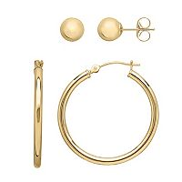 Everlasting Gold 14k Gold Ball Stud & Hoop Earring Set