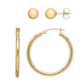 Everlasting Gold 14k Gold Ball Stud & Hoop Earring Set