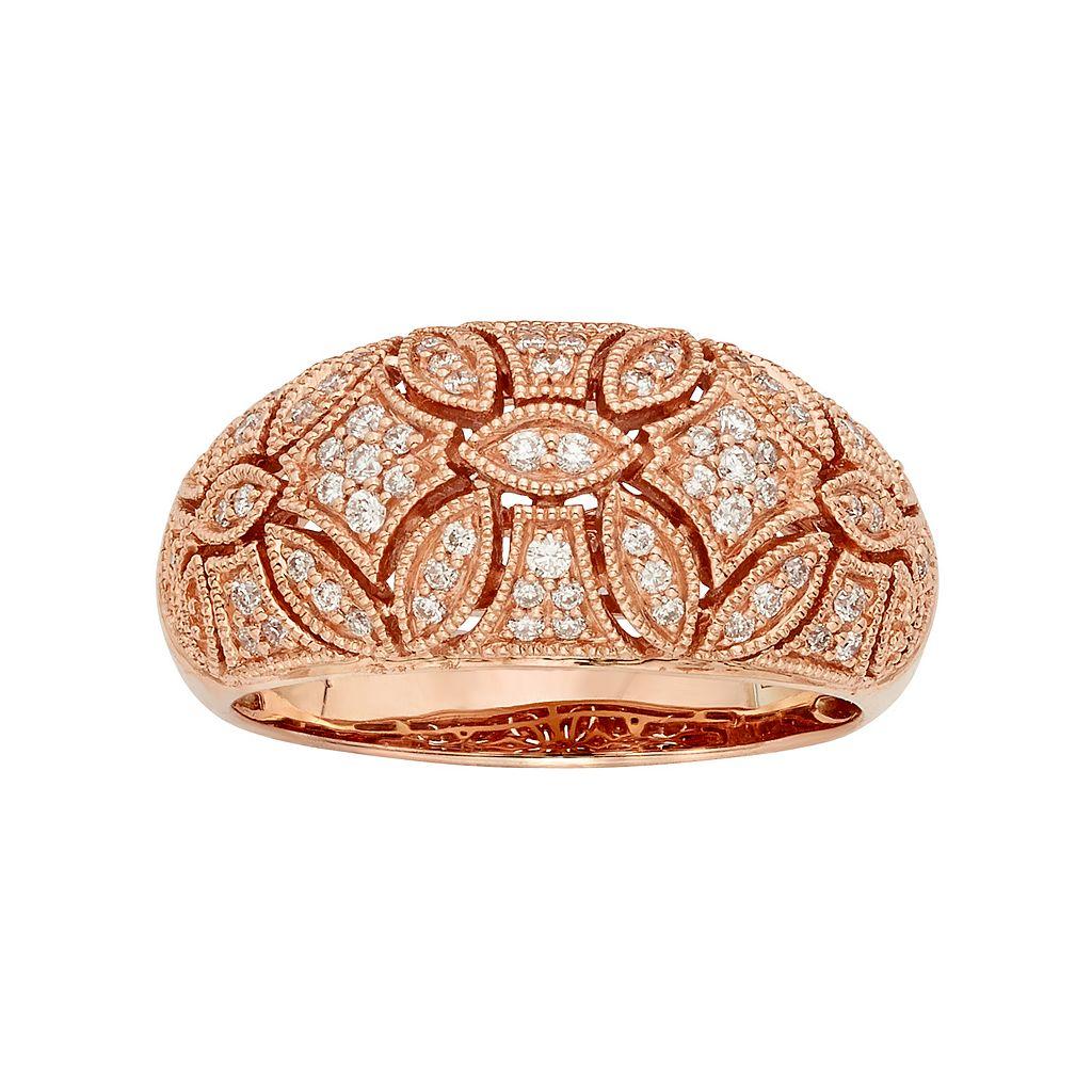 1/3 Carat T.W. IGL Certified Diamond 14k Gold Art Deco Wedding Ring