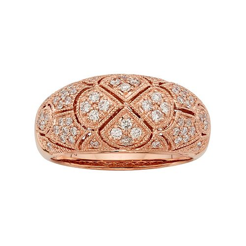 1/2 Carat T.W. IGL Certified Diamond 14k Gold Art Deco Wedding Ring