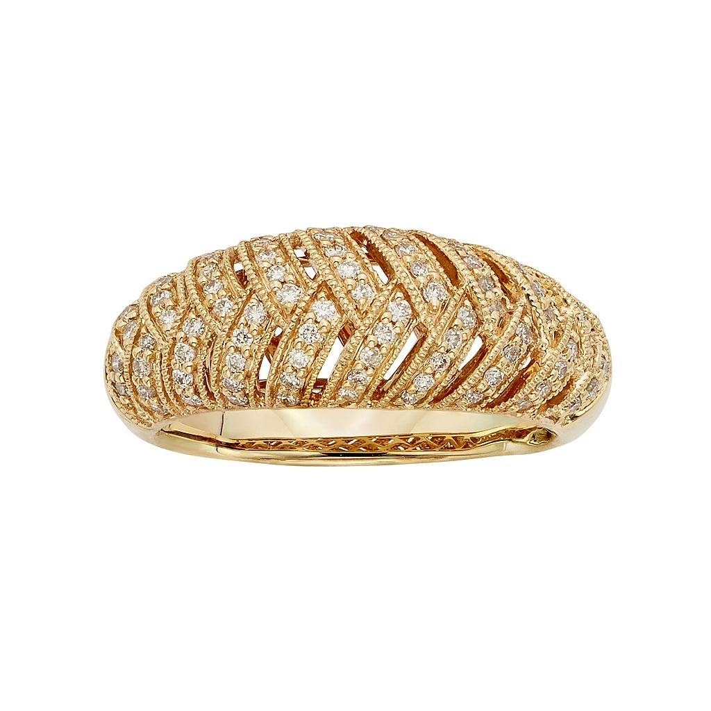 3/8 Carat T.W. IGL Certified Diamond 14k Gold Art Deco Wedding Ring