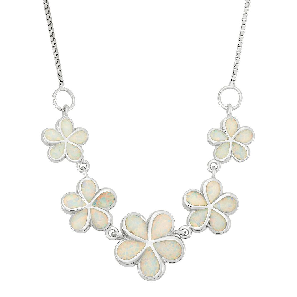 Lab-Created Opal Sterling Silver Flower Necklace
