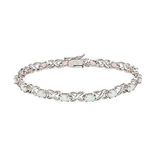 Lab-Created Opal Sterling Silver XO Bracelet
