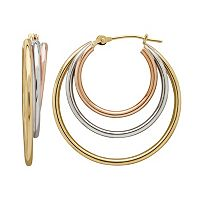 Everlasting Gold Tri-Tone 14k Gold Concentric Hoop Earrings