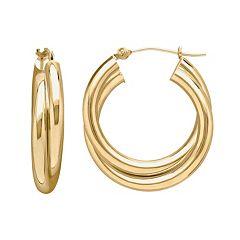 Everlasting Gold 14k Gold Double Hoop Earrings