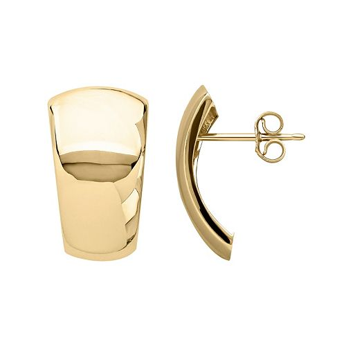 Everlasting Gold 14k Gold Curved Dome Stud Earrings