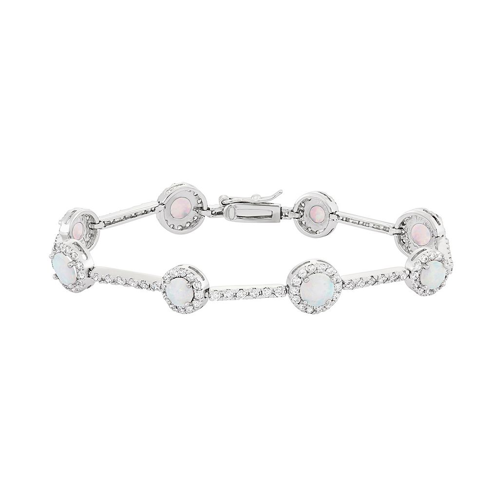 Lab-Created Opal & Cubic Zirconia Sterling Silver Station Bracelet
