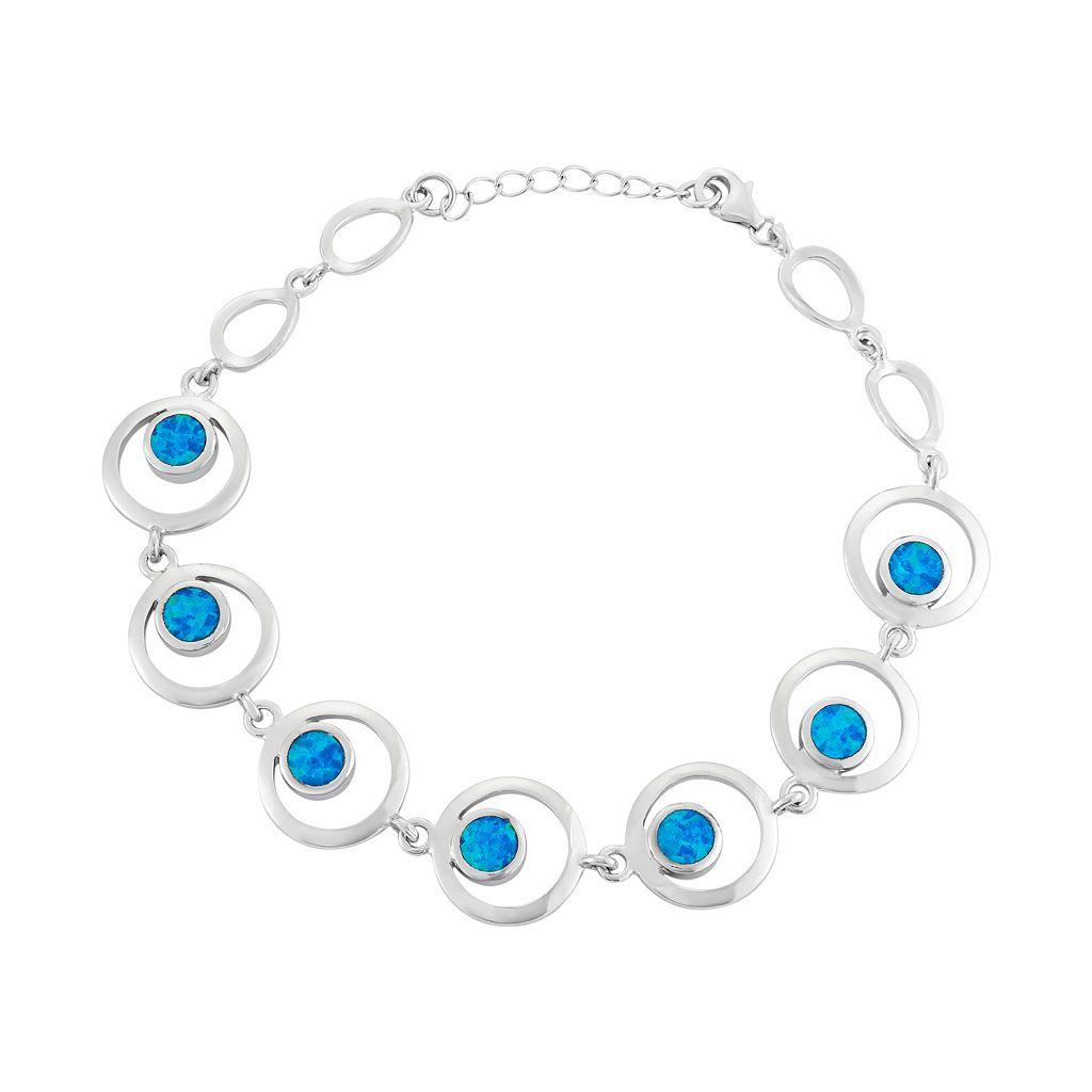 Lab-Created Blue Opal Sterling Silver Circle Link Bracelet