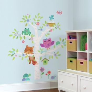 Woodland Baby Birch Tree 27-piece Peel and Stick Giant Wall Decal Set