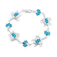 Lab-Created Blue Opal Sterling Silver Turtle & Seashell Bracelet