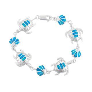 Lab-Created Blue Opal Sterling Silver Turtle & Seashell Bracelet